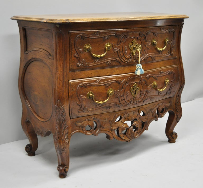 French Country Louis XV Style Carved Walnut Commode Bachelor Chest of Drawers For Sale 7