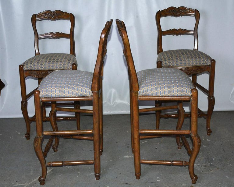 Carved French Country Louis XV Style Counter/Bar Stools For Sale