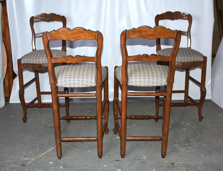 French Country Louis XV Style Counter/Bar Stools In Good Condition For Sale In Great Barrington, MA