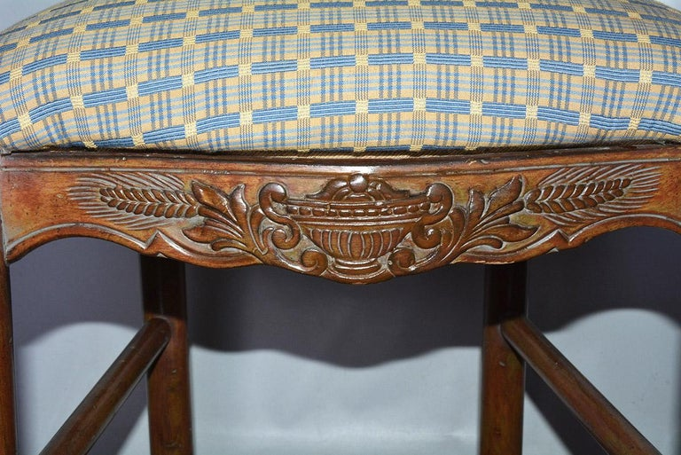 Oak French Country Louis XV Style Counter/Bar Stools For Sale