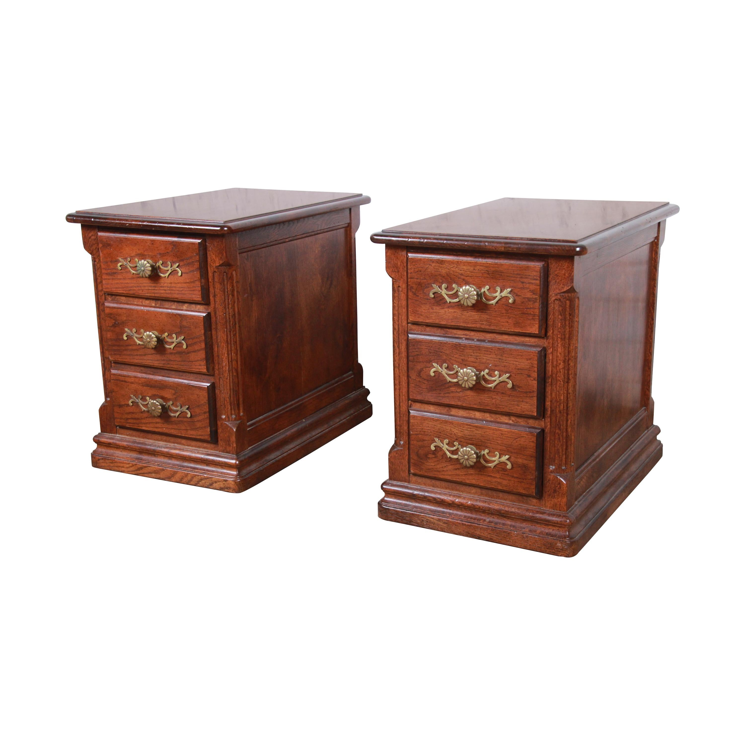 French Country Oak Three-Drawer Nightstands by Hickory