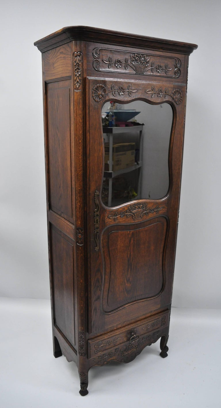 French Country Oak Wood Tall Narrow Curio Cabinet Vitrine