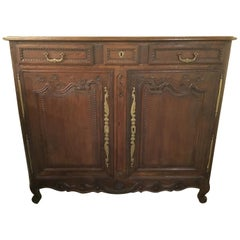 French Country Oakwood Carved Cabinet/Sideboard, circa Late 18th Century