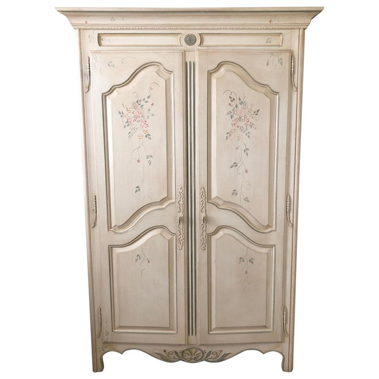 French Country Painted Wardrobe Armoire By Ethan Allen At 1stdibs