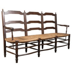 French Country Rush Seat Settee or Radassier