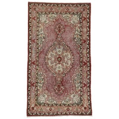 French Country Style Distressed Vintage Turkish Sivas Rug, Accent Rug