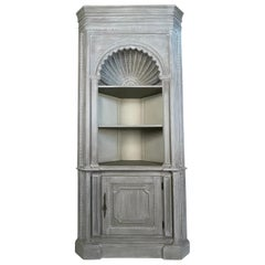 French Country Style Grey Painted Shell Carved Corner Cabinet
