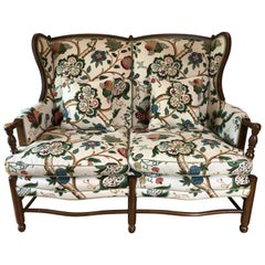 French Country Style Wingback Settee