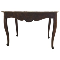 French Country Table/Console 19th Century with Marble Top and Louis XV Style Oak