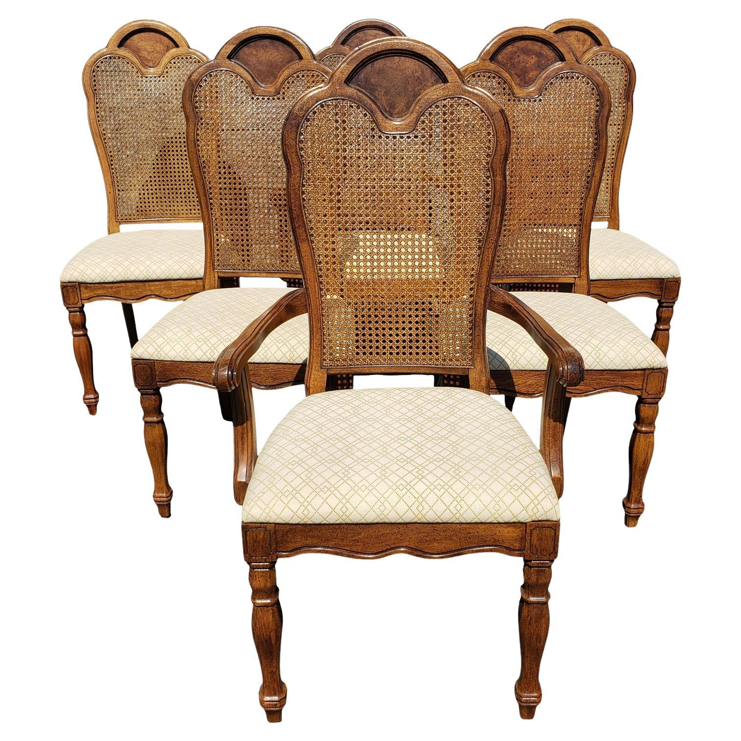 French Country Thomasville Walnut Cane Back Dining Room Chairs, Set of 6