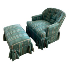 French Country Upholstered Armchair and Ottoman