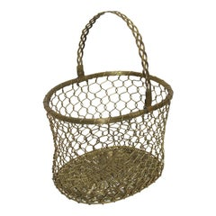 French Country Woven Brass Basket, Mid-20th Century
