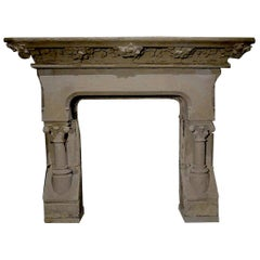 French Countryside Wine Style Fireplace Handcrafted Pure Limestone with Grapes