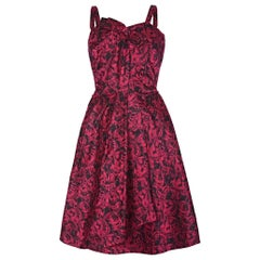 French Couture 1950s Red Silk Butterfly Print Dress