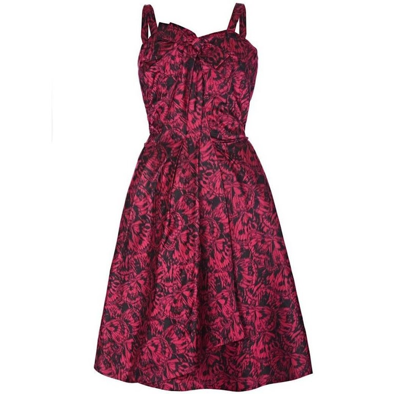 French Couture 1950s Red Silk Butterfly Print Evening Dress With Bow For Sale