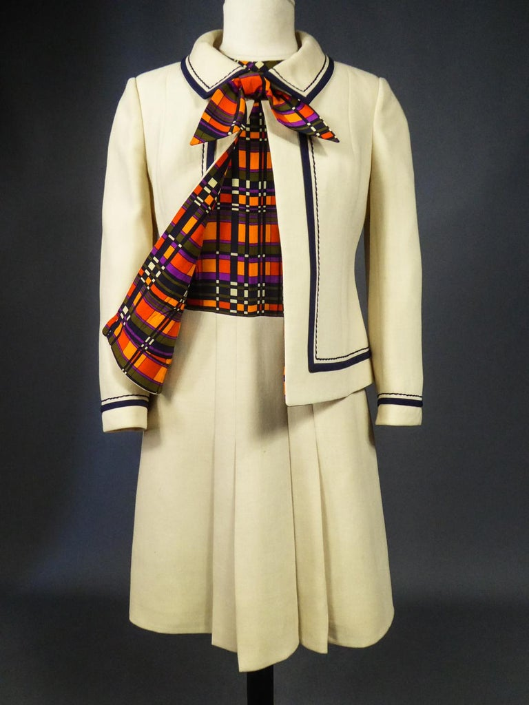 French Couture Dress and Jacket in the style of Balmain Circa 1972 For Sale 5