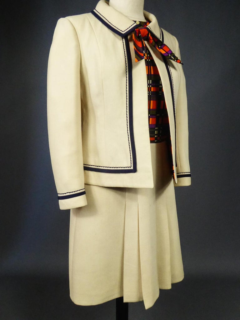 French Couture Dress and Jacket in the style of Balmain Circa 1972 For Sale 7