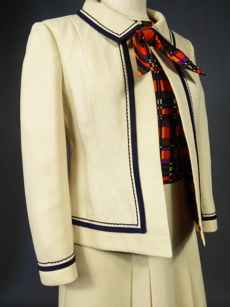 French Couture Dress and Jacket in the style of Balmain Circa 1972 For Sale 8