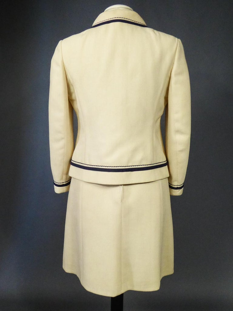 French Couture Dress and Jacket in the style of Balmain Circa 1972 For Sale 10
