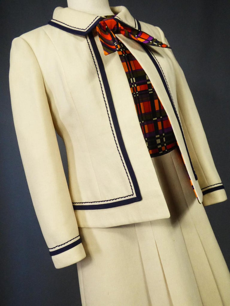 French Couture Dress and Jacket in the style of Balmain Circa 1972 For Sale 15