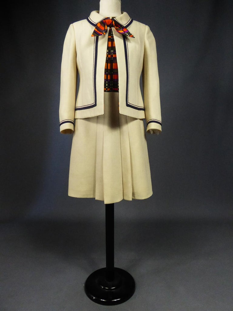 Women's French Couture Dress and Jacket in the style of Balmain Circa 1972 For Sale
