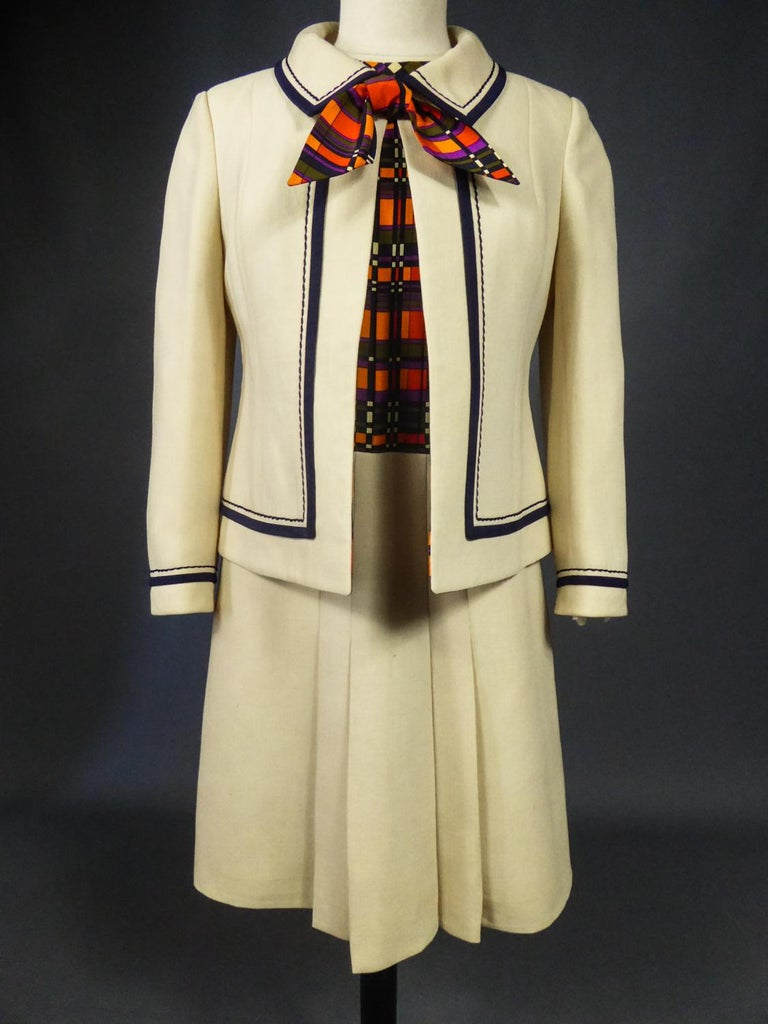 French Couture Dress and Jacket in the style of Balmain Circa 1972 For Sale 1