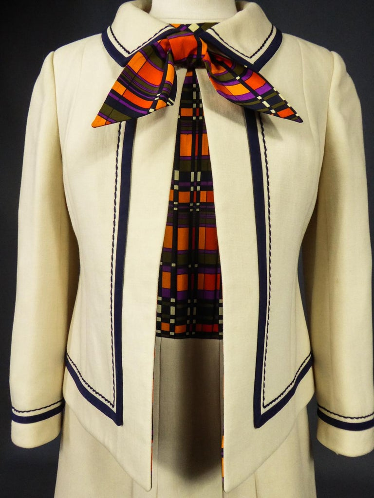 French Couture Dress and Jacket in the style of Balmain Circa 1972 For Sale 2