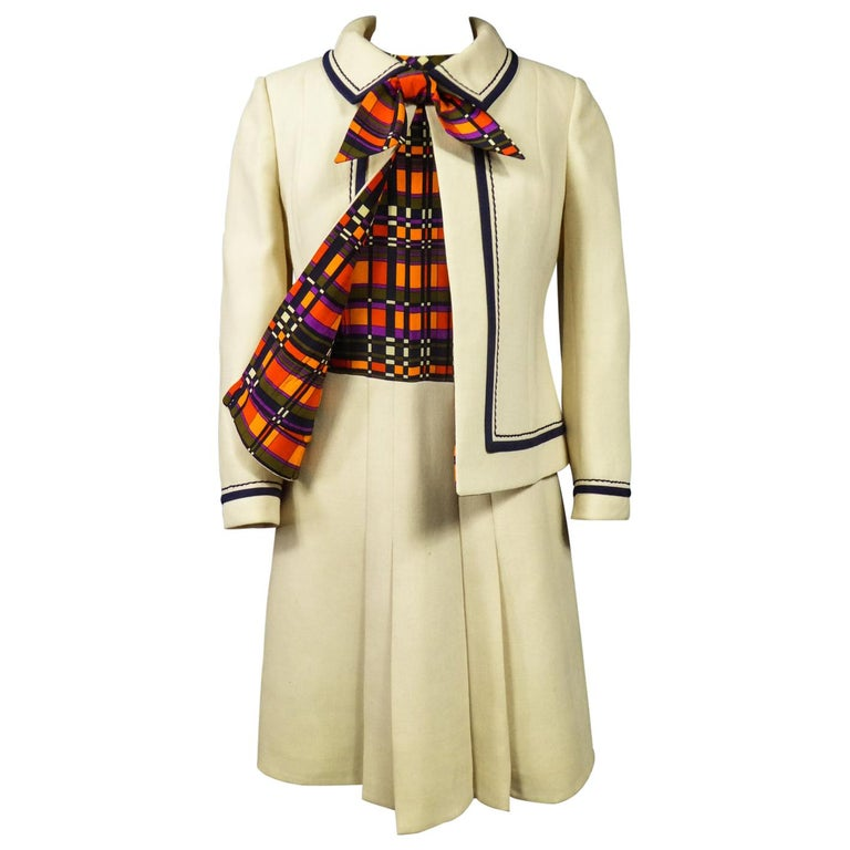 French Couture Dress and Jacket in the style of Balmain Circa 1972 For Sale