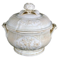French Creamware or Faience Fine Soup Tureen, Pont-Aux-Choux