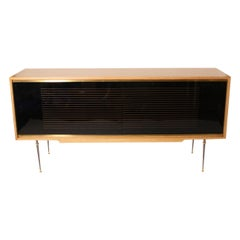 French Credenza in Oak with Opaline Glass Drawers by Baptistin Spade, circa 1940