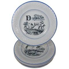 French Creil et Montereau Transferware Rebus Puzzle Dessert Plates, Set of 6