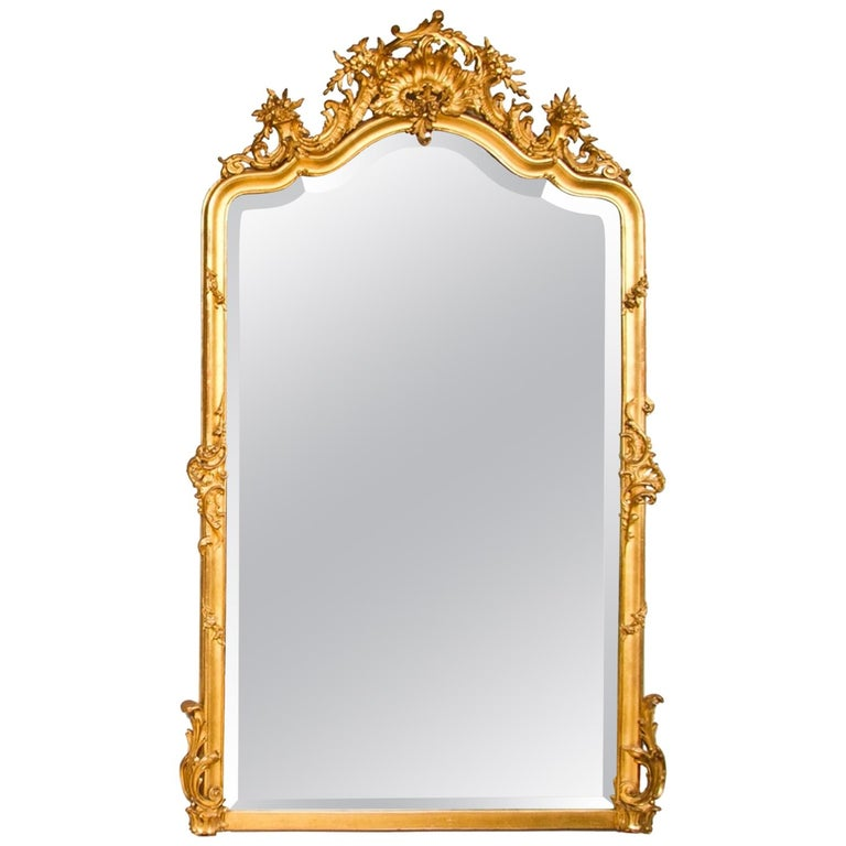 French Crested Antique Gilded Mirror For Sale At 1stdibs