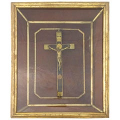 French Crucifix Vitrine and Frame, Late 19th Century