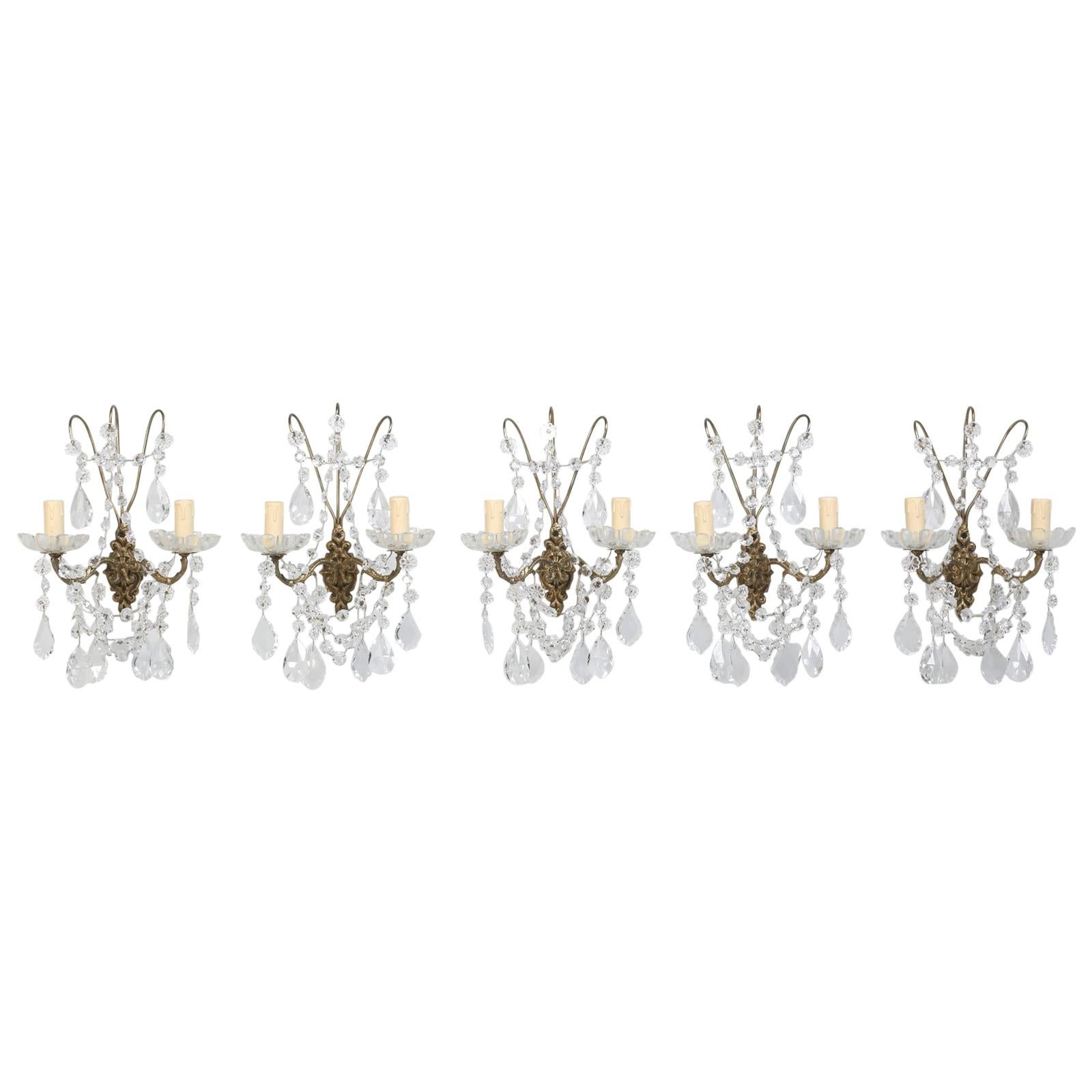 French Crystal and Brass 2-Light Sconces, Available Individually or in Pairs