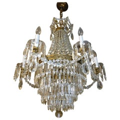 French Crystal and Bronze Six-Light Tiered Chandelier Turn of the Century
