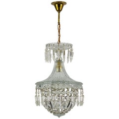 French Crystal and Glass Pendant Chandelier, 1930s