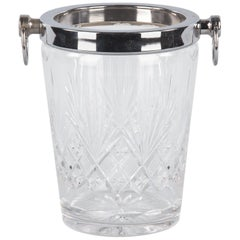 French Crystal and Silver Metal Ice Bucket, 1970s