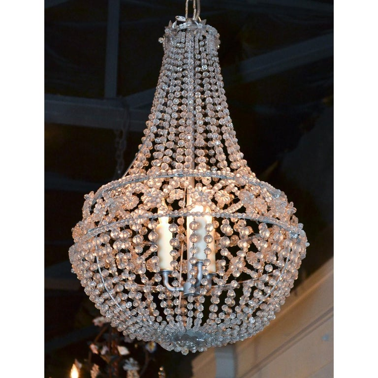 Carved French Crystal Basket Chandelier, circa 1920 For Sale