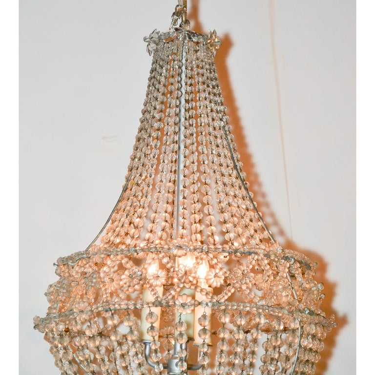 French Crystal Basket Chandelier, circa 1920 In Good Condition For Sale In Dallas, TX