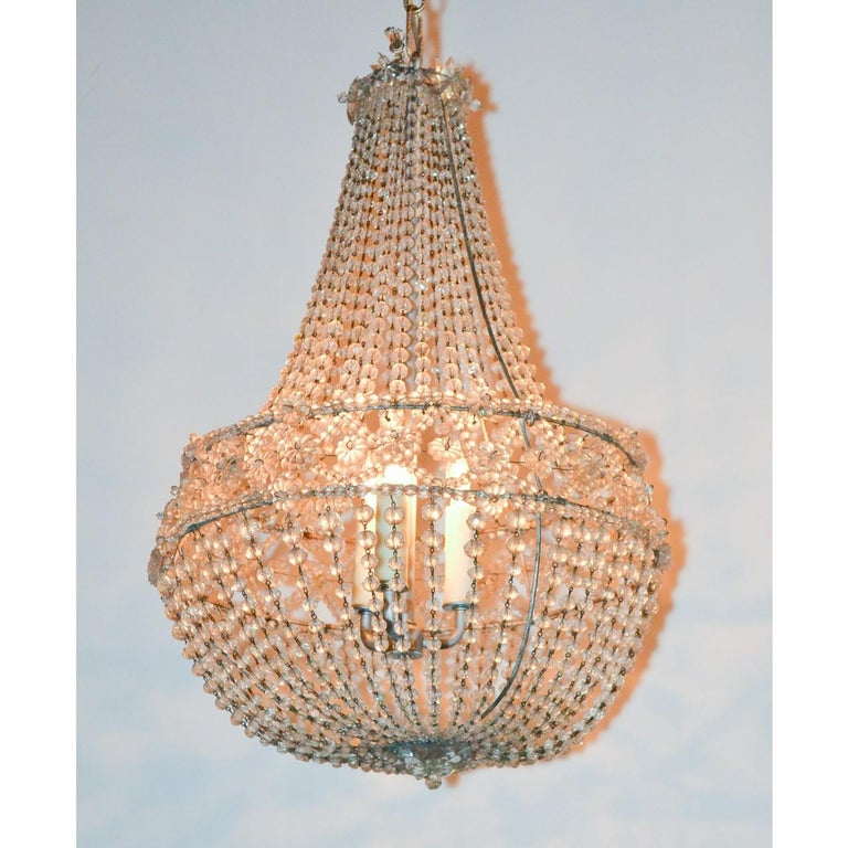 20th Century French Crystal Basket Chandelier, circa 1920 For Sale