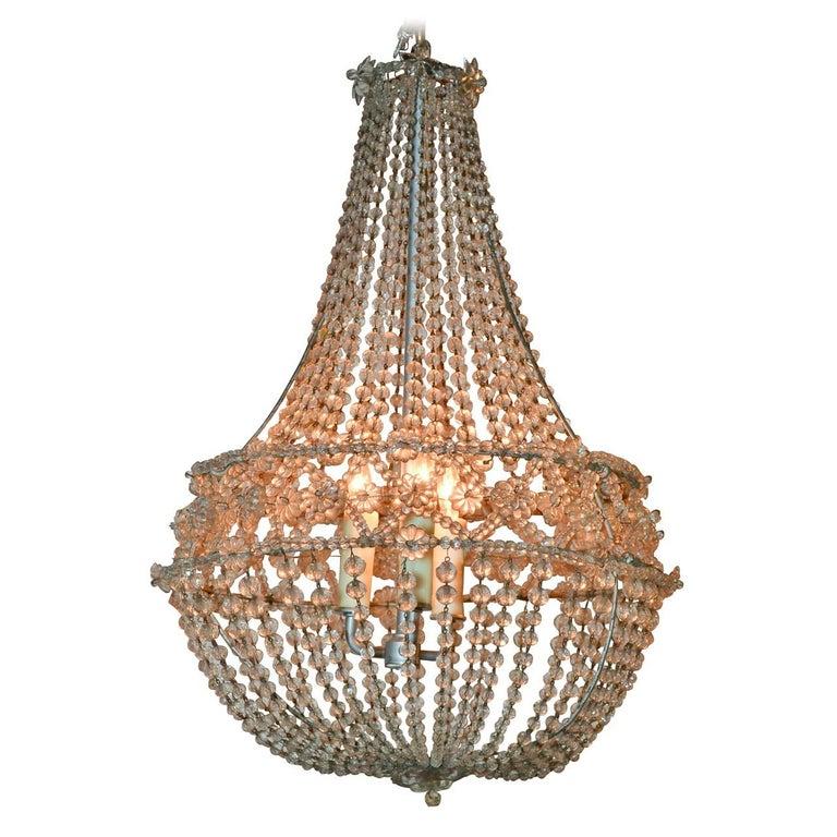 French Crystal Basket Chandelier, circa 1920 For Sale