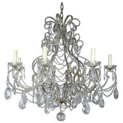 French Crystal Beaded 8-Arm Chandelier, 20th Century