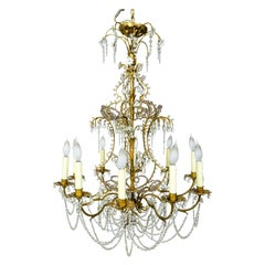 French Crystal Beaded and Brass Curls Chandelier