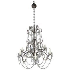 French Crystal Beaded Chandelier, circa 1940s