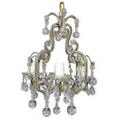 French Crystal Beaded Chandelier with Clear Drops, circa 1930s