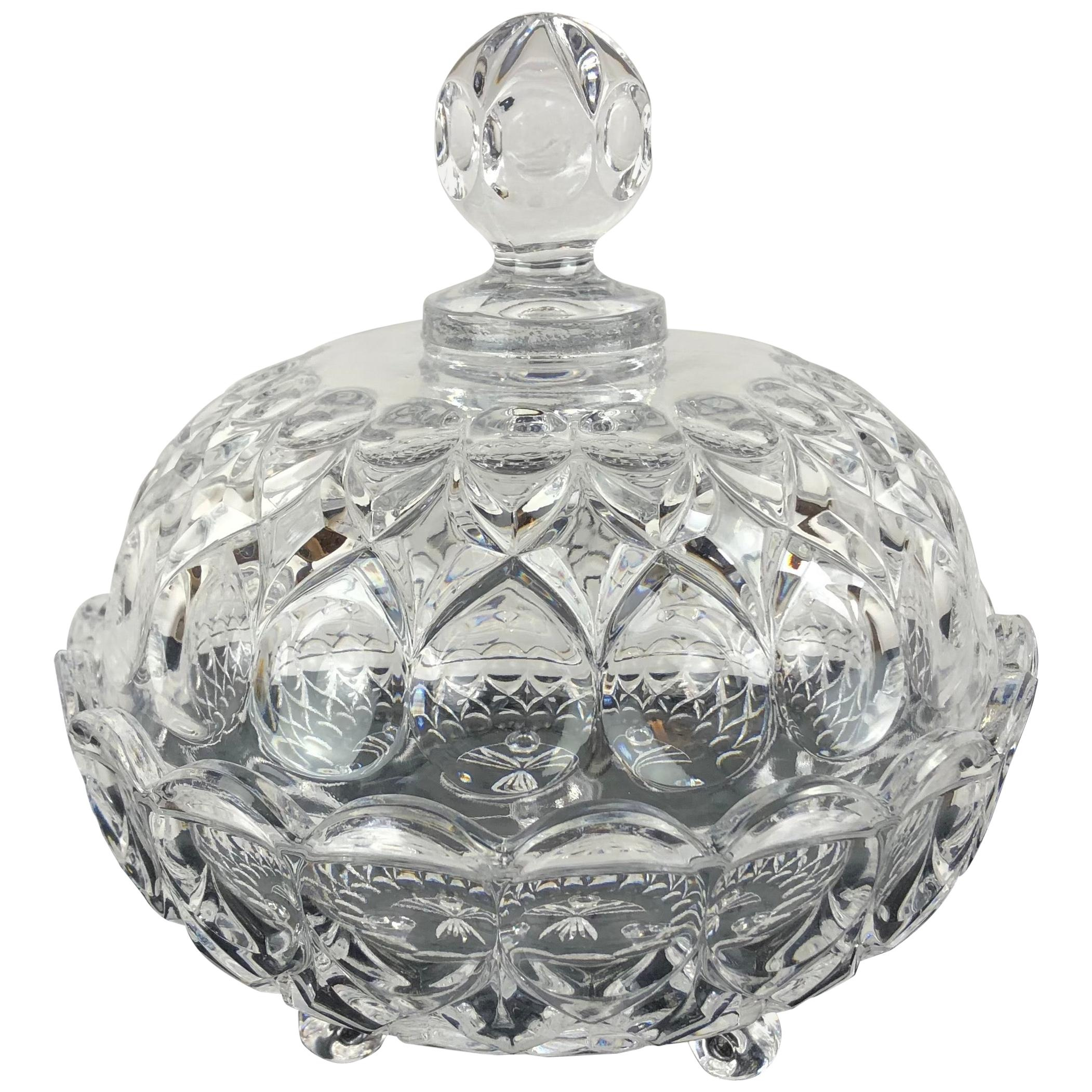 French Crystal Candy Dish, Trinket or Jewelry Box from Reims, Champagne Region