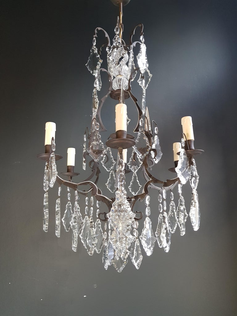 French Crystal Chandelier Antique Ceiling Lamp Lustre Art Nouveau Lamp 2