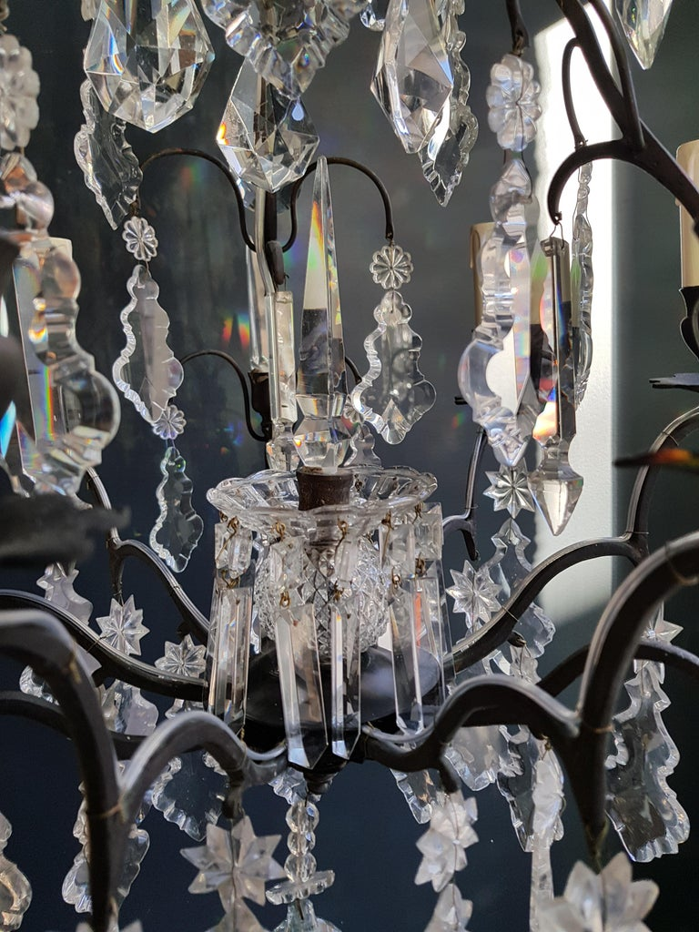 Mid-20th Century French Crystal Chandelier Antique Ceiling Lamp Lustre Art Nouveau Lamp For Sale