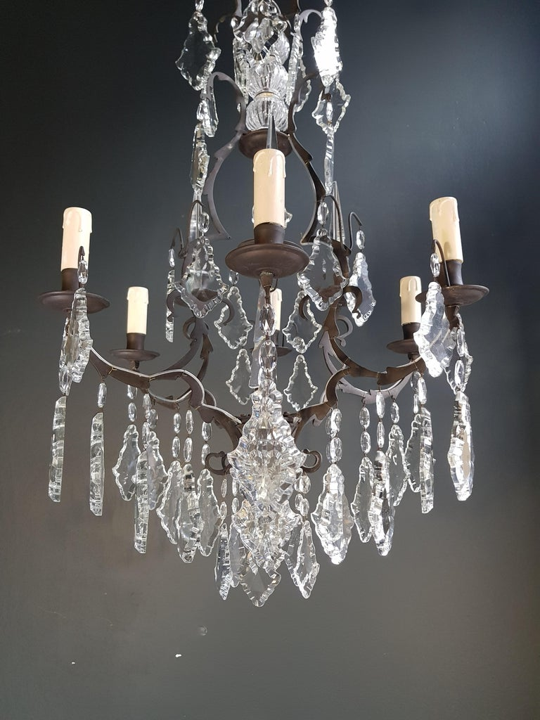 French Crystal Chandelier Antique Ceiling Lamp Lustre Art Nouveau Lamp 8