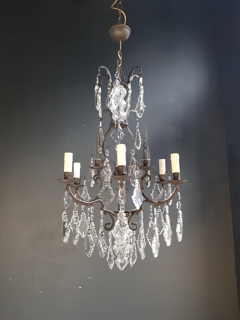 French Crystal Chandelier Antique Ceiling Lamp Lustre Art Nouveau Lamp 9